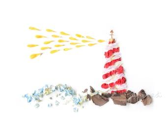 Lighthouse - Faro en el mar - Flowers print
