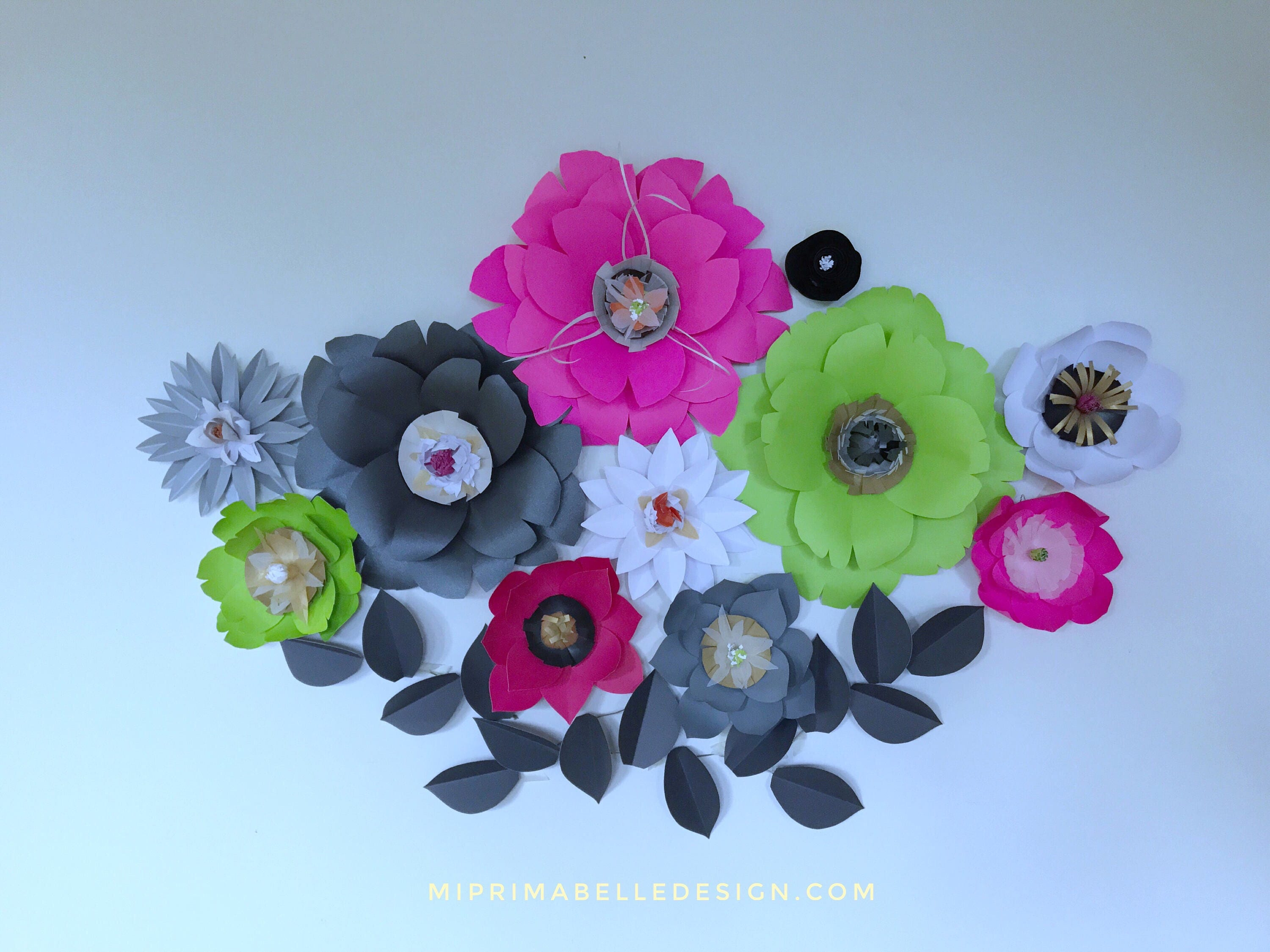 Mint green paper flowers wall decor neon pink paper flowers wall gallery photo gallery photo amipublicfo Choice Image