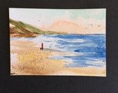 Seascape ORIGINAL Miniature Watercolour 'Stroll with Dog' Beach, Seaside, ACEO, For him,For her, Home Decor Gift Idea Wall Art,Free Shipping