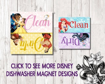 Disney magnets Refrigerator Dishwasher Magnet Clean Dirty Beauty and the Beast Little Mermaid Cinderella Frozen Jungle Book Peter Pan Brave