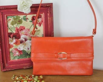 Vintage Orange Shoulder Bag/1960's Vintage Boho Bag/Chamelle Handbag/ (Ref1960B)