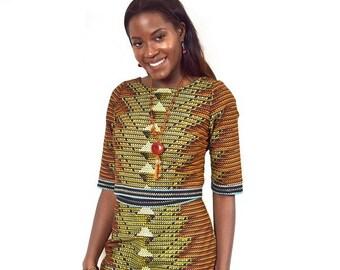 Rust Tribal Design Pencil Skirt and Cropped Top, Ankara Pencil Skirt, African Wax Short Skirt – Made to Order