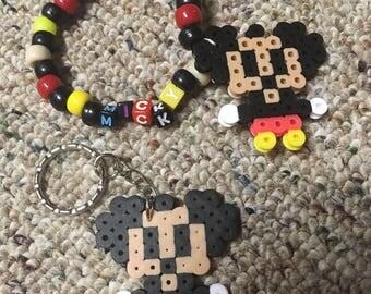 Micky Mouse perler on a keychain or kandi bracelet