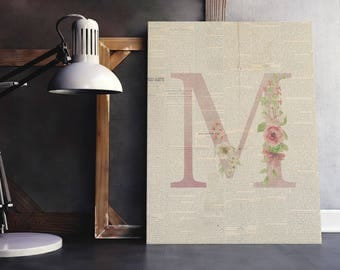 Baby Initial Decor M | Letter Floral Wreath,  Floral Wreath Letter, Nursery Name, Baby Letter Name, Personal Baby Room, Nursery Rustic Art