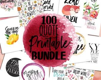 100 Quote Printable Set | Quote Bundle, Poster Bundle, Inspirational Bundle, Wall Art Bundle, Printable Bundle Art, Big Bungle, Mega Bundle