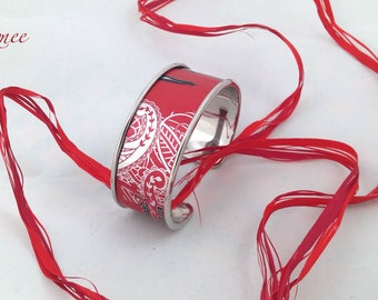Bobbin recycled red and silver Cuff Bracelet