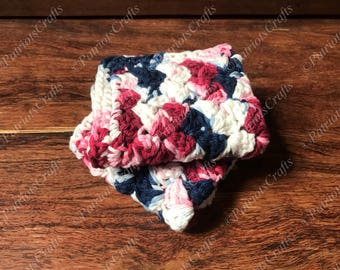 Textured Patriotic Dishcloth, Crocheted, Red White Blue