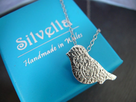 Lace Effect Textured Bird - Silver Bird Necklace - Gift For Her - Handmade in Wales - Silver Gifts