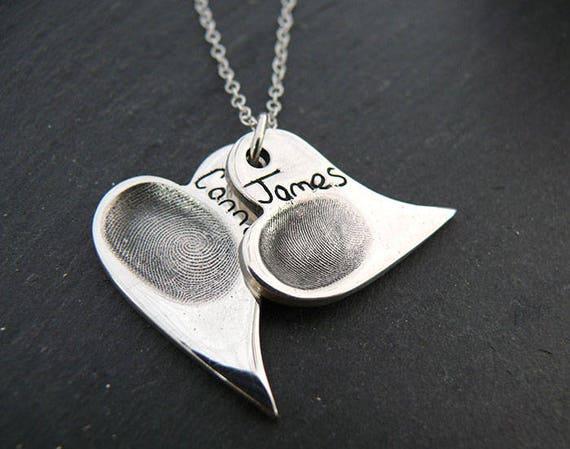 Fingerprint Jewellery - Double Fingerprint Jewellery - Keepsake Jewellery - Actual Prints Captured in Solid Silver
