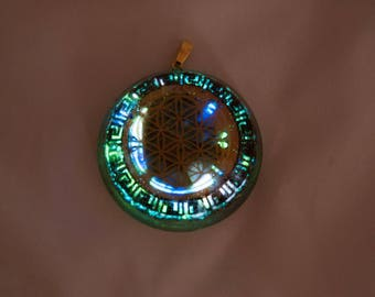 Organite flwer if life pendant gold 22 k labradorite activated healing frequencies 528Hz finish & clasp gold 22 k.
