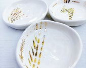 Ceramic Dish, Porcelain, Gold, White, Pottery, Wedding Gifts, Bespoke, 13% Gold, Made in Australia.