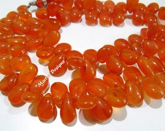 Genuine Carnelian Smooth Pear Shape Beads , Natural Plain Carnelian approximately 8x11mm Beads , Strand 8 inches long , Semi Precious Beads.