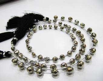 AAA Quality Silver Pyrite Onion Shape Beads, Natural Pyrite Faceted fancy Beads Size 7 mm, Strand 8 inch Long, Semi Precious Gemstone Beads