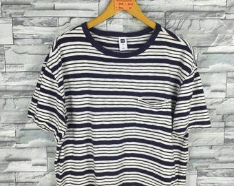 GAP Striped T shirt Large Vintage 90's Gap Jeans Usa Border Stripes Rockabilly Grunge Surfer Oversize Tee Skater T shirt Size L
