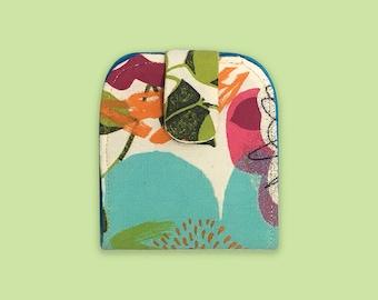 Wallet Women Small, Wallet Card Holder, Flat Pouch, Coin Purse Women, Flower Print Bag, Colorful Wallet Women, Fabric Wallet, Gift Under 30