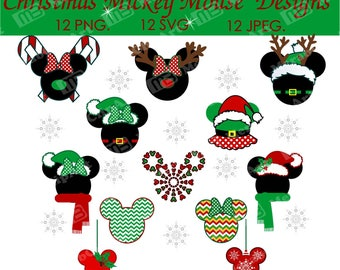Christmas Mickey Mouse Svg Cut File,  PNG. DFX. PDF 12 image   New year. Christmas ornaments. Christmas veqtor