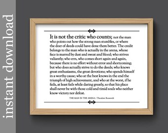 Man In The Arena, printable quote, Graduation gift, Roosevelt quote, inspiration quote, history gift, gift for him, teacher gift, office art