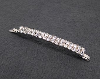 80's vintage rhinestone bobby pin, silver tone slim double bar