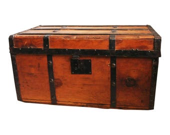 Vintage CAMELBACK TRUNK storage chest steamer train luggage antique toy box wood tin dome top camel hump rustic primitive wooden humpback 30