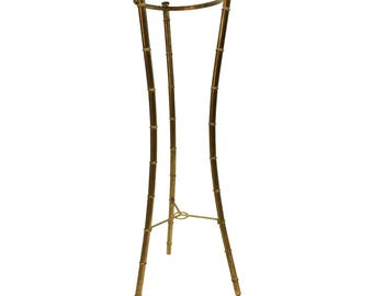 Hollywood Regency Faux Bamboo PLANT STAND metal gold mid century modern vintage outdoor garden metal pot holder side table