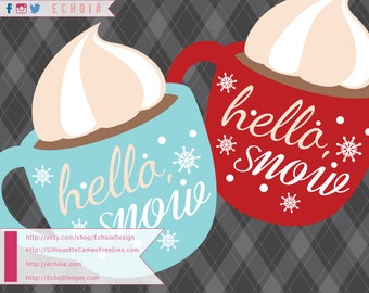 Hello Snow Cocoa Cup Design - SVG, PNG and DXF Files for Printing/Cutting/Design