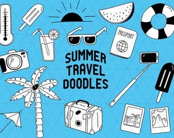Summer Doodle, Travel Doodle, Summer Clipart, Travel Clipart, Vacation Clipart, Summer Clip Art, Vacation Doodle,Summer Vector,Travel Vector