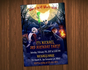 The Nightmare Before Christmas Invitation, The Nightmare Before Christmas Halloween Birthday,  Halloween Invitation Party
