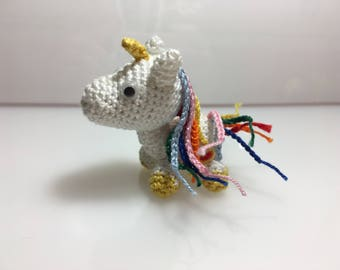 White and micoloured unicorn keyring Lucky charm gift idea for every occasion