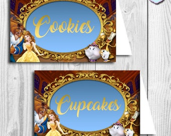 PRINTABLE Beauty and the Beast BLANK Food Tent, Beauty and the Beast Tent Card, Beauty and the Beast Place Card, Food Tent Cards, You print