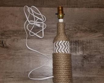 Wine bottle lamp, rustic lamp, lighting, night table lamp, side table lamp, nightlight, custom lamp