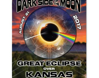 EC029 - Kansas - Dark Side of the Moon Total Solar Eclipse 2017 Sticker (or MAGNET)