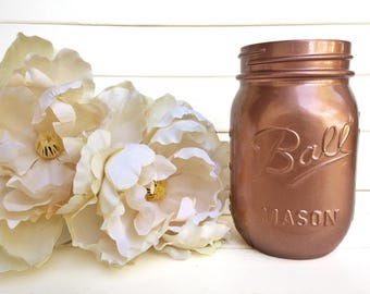 One Painted Mason Jar - Shabby Chic Rustic Decor Centerpieces Flower Vases Home Decor Rose Gold Cooper Metal Glossy Blush