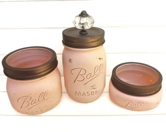 Three Mason Jars Set - Rustic Home Decor Bedroom Bathroom Organizer Painted Distressed Shabby Chic Bronze Decorative Blush Peach Pink Nude