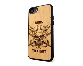 Customized Gift for Him Real Cherry iPhone Wood case Skull Warrior | iPhone 5 SE 5S 6 6S Plus | iPhone cover | iPhone 7 case | 7+ plus case