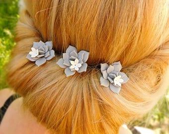 Bridal hair 1 pcs Gift\for\her Succulent hair pin Hair flower Women accessories Floral headpiece Boho hair Rustic wedding Gray hair piece