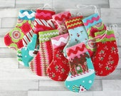 Mini Christmas Stocking Ornament Set / Christmas Stocking Decorations / Handmade Ornament / Mini Fabric Stockings / Christmas Treat Pouch