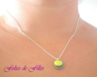 "Necklace ""sequins 2"" green lime and taupe"