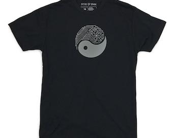 Mens Graphic T Shirt, YIN YANG TECH T-Shirt, Tech Guy, Yin Yang shirt, Gift for Guys, Technology Shirt by Story Spark, Circuitboard tee