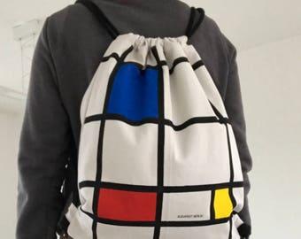 Mondriaan drawstring backpack, repurposed backpack, vegan friendly bag, De Stijl
