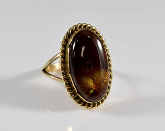 Vintage Fire Agate 14K Gold Ring Size 6 1/2