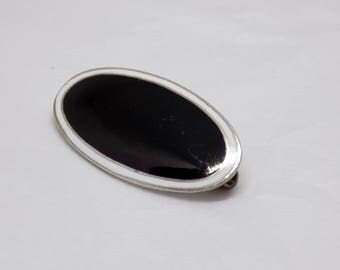 A French 1920's Solid Silver And Black And White Oval Enamel Brooch Silver Is High Grade 935