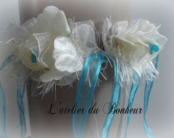 Beautiful turquoise blue and ivory garter