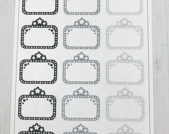 doodle monochrome movie marquees /planner stickers/ movie time/happy planner stickers