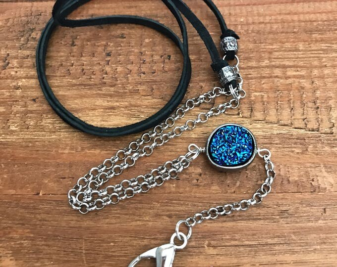 Leather Druzy Lanyard Back to School Silver Chain Teacher Lanyard Student ID Badge Holder Corporate Gifts School Supplies Nurse Employee ID