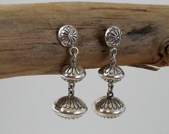 """Three tier Sterling silver earrings Southwestern jewelry Native American earrings concho earrings 1 3/4"""" PD2793"""