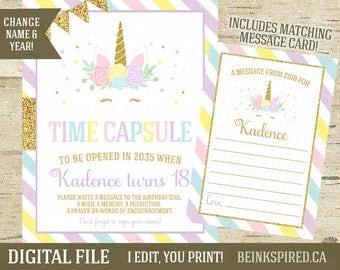 Unicorn Time Capsule, Unicorn Time Capsule Sign, First Birthday Time Capsule, Matching Card, Printable, Unicorn Face, KADENCE, DIGITAL FILE