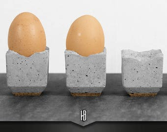 4-Set Egg cup made of concrete with cork
