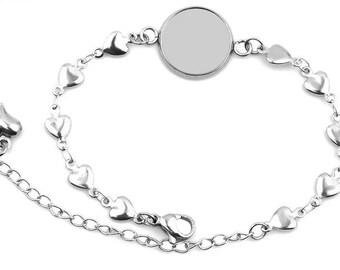 12mm Bezel, Hypoallergenic Stainless Steel Cabochon Bracelet, DIY Heart Charm Bracelets, Link Chain Lobster Claps, Hearts