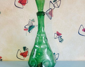SALE Green, Italian, Genie Bottle with indented Circles/Spots