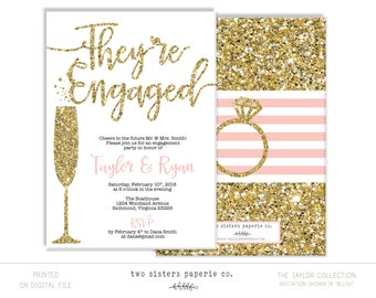 Glitter Engagement Party Invitation - TAYLOR Collection - Gold Engagement Invitation - They're Engaged - Silver Engagement Party